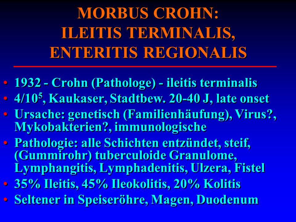 MORBUS CROHN: ILEITIS TERMINALIS, ENTERITIS REGIONALIS 1932 - Crohn (Pathologe) - ileitis terminalis 4/10 5, Kaukaser, Stadtbew. 20-40 J, late onset U