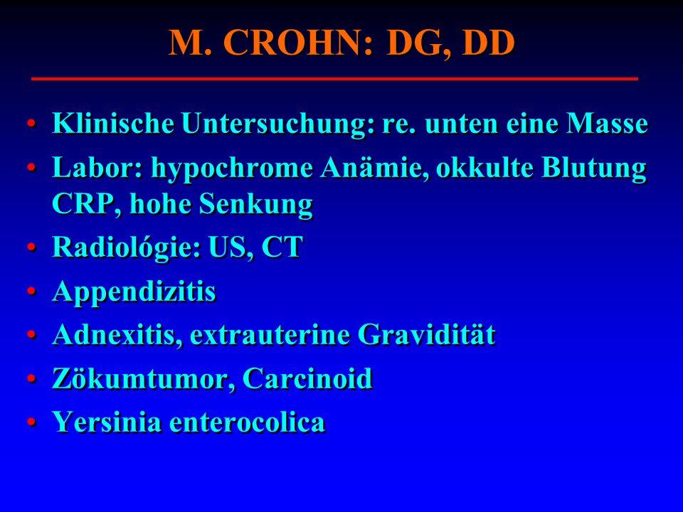 Klinische Untersuchung: re. unten eine Masse Labor: hypochrome Anämie, okkulte Blutung CRP, hohe Senkung Radiológie: US, CT Appendizitis Adnexitis, ex