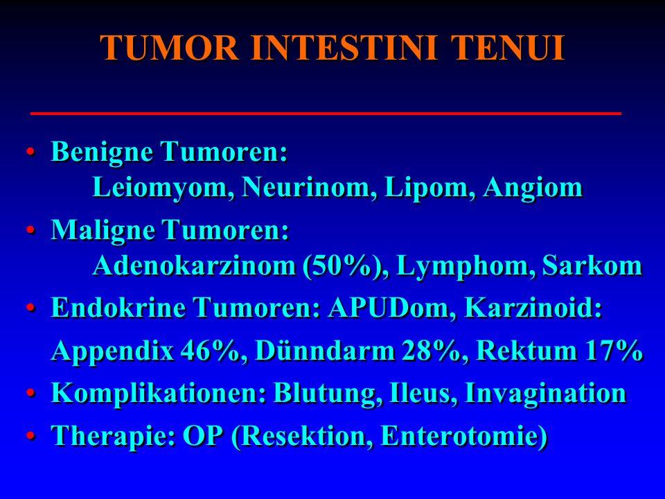 TUMOR INTESTINI TENUI Benigne Tumoren: Leiomyom, Neurinom, Lipom, Angiom Maligne Tumoren: Adenokarzinom (50%), Lymphom, Sarkom Endokrine Tumoren: APUD