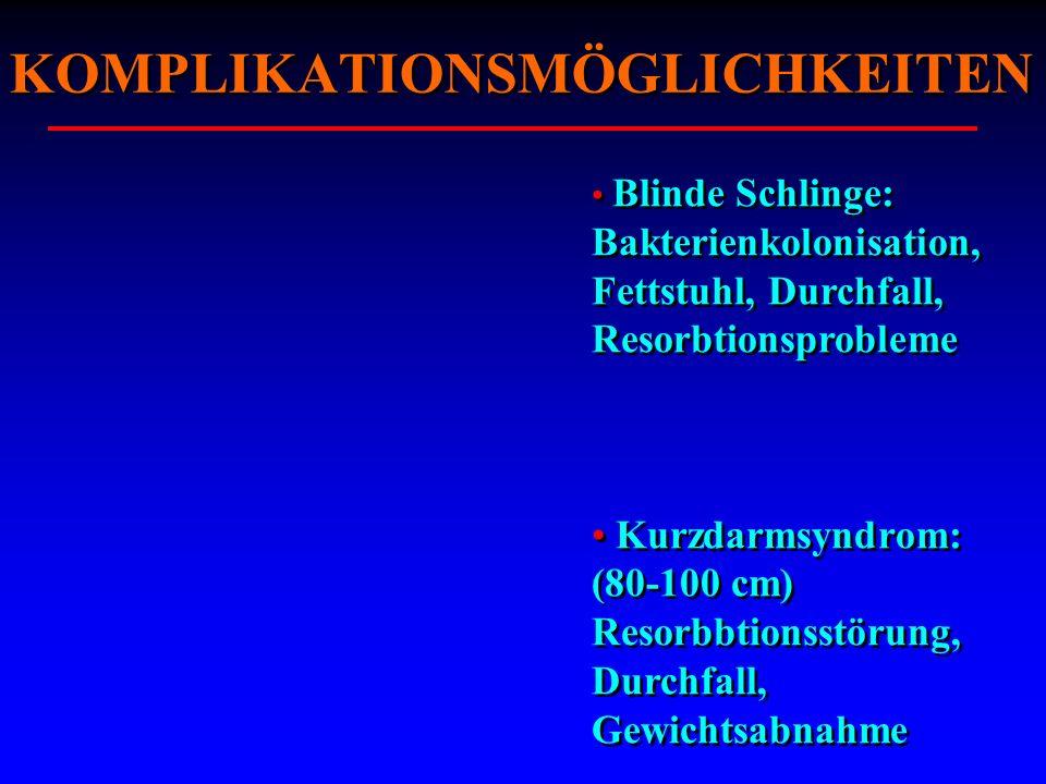 Blinde Schlinge: Bakterienkolonisation, Fettstuhl, Durchfall, Resorbtionsprobleme Kurzdarmsyndrom: (80-100 cm) Resorbbtionsstörung, Durchfall, Gewicht