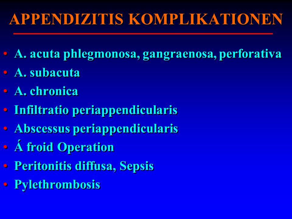 APPENDIZITIS KOMPLIKATIONEN A. acuta phlegmonosa, gangraenosa, perforativa A. subacuta A. chronica Infiltratio periappendicularis Abscessus periappend