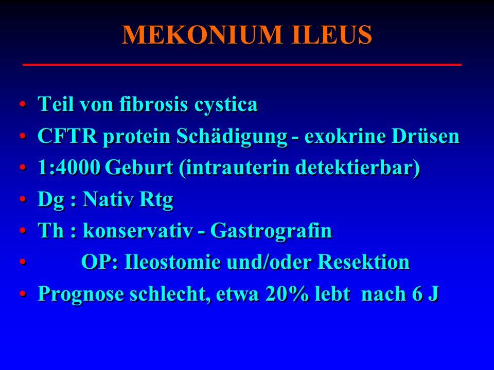 Teil von fibrosis cystica CFTR protein Schädigung - exokrine Drüsen 1:4000 Geburt (intrauterin detektierbar) Dg : Nativ Rtg Th : konservativ - Gastrog