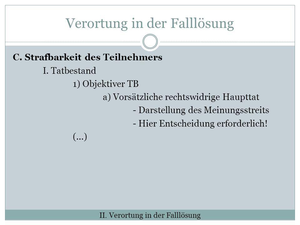 Verortung in der Falllösung C. Strafbarkeit des Teilnehmers I. Tatbestand 1) Objektiver TB a) Vorsätzliche rechtswidrige Haupttat - Darstellung des Me