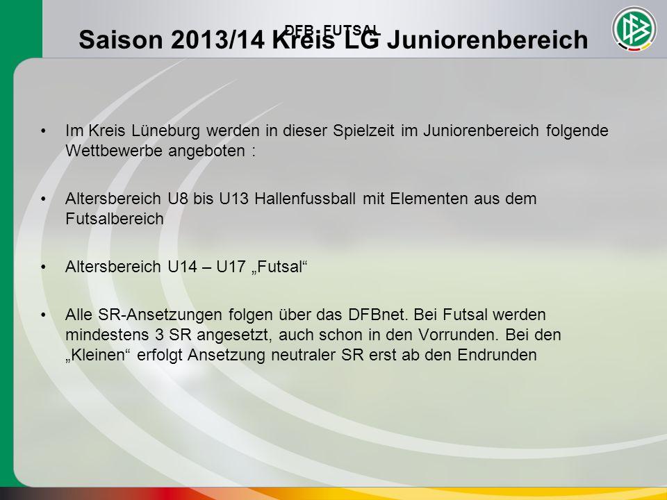 DFB FUTSAL Saison 2013/14 Kreis LG Juniorenbereich Im Kreis Lüneburg werden in dieser Spielzeit im Juniorenbereich folgende Wettbewerbe angeboten : Al