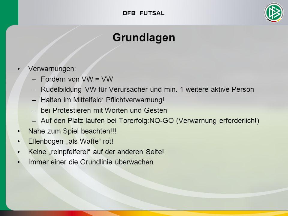 DFB FUTSAL Grundlagen Verwarnungen: –Fordern von VW = VW –Rudelbildung VW für Verursacher und min. 1 weitere aktive Person –Halten im Mittelfeld: Pfli