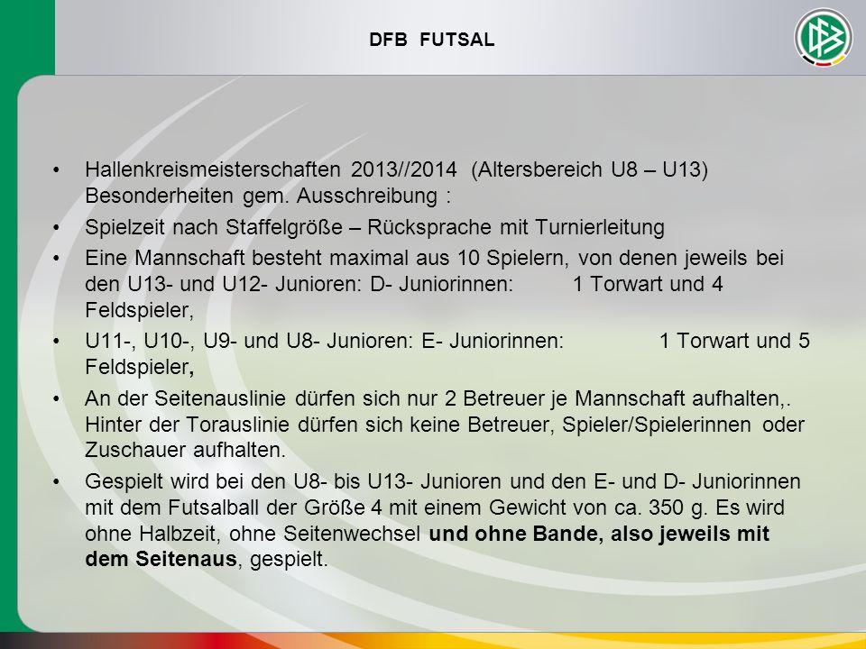 DFB FUTSAL Hallenkreismeisterschaften 2013//2014 (Altersbereich U8 – U13) Besonderheiten gem. Ausschreibung : Spielzeit nach Staffelgröße – Rücksprach