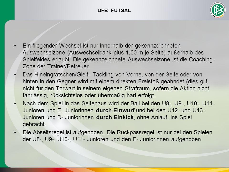 DFB FUTSAL Ein fliegender Wechsel ist nur innerhalb der gekennzeichneten Auswechselzone (Auswechselbank plus 1,00 m je Seite) außerhalb des Spielfelde