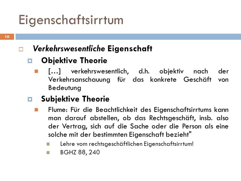10 Eigenschaftsirrtum Verkehrswesentliche Eigenschaft Objektive Theorie […] verkehrswesentlich, d.h. objektiv nach der Verkehrsanschauung für das konk