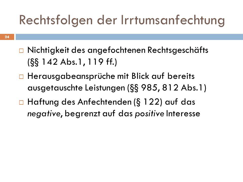 Rechtsfolgen der Irrtumsanfechtung 24 Nichtigkeit des angefochtenen Rechtsgeschäfts (§§ 142 Abs.1, 119 ff.) Herausgabeansprüche mit Blick auf bereits ausgetauschte Leistungen (§§ 985, 812 Abs.1) Haftung des Anfechtenden (§ 122) auf das negative, begrenzt auf das positive Interesse