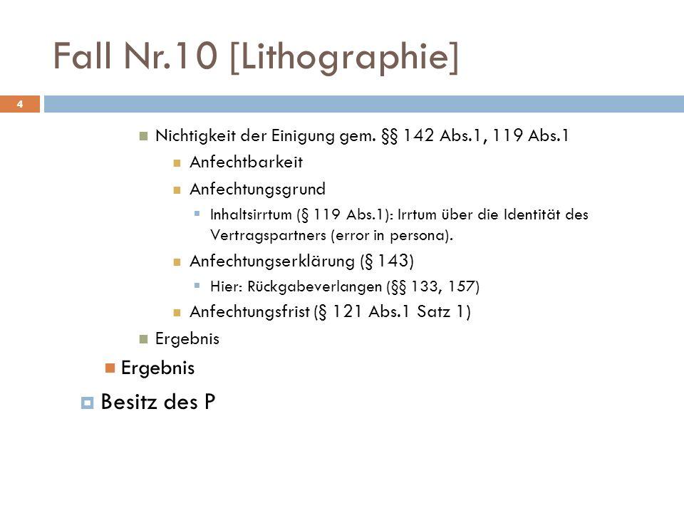 Fall Nr.10 [Lithographie] 4 Nichtigkeit der Einigung gem. §§ 142 Abs.1, 119 Abs.1 Anfechtbarkeit Anfechtungsgrund Inhaltsirrtum (§ 119 Abs.1): Irrtum