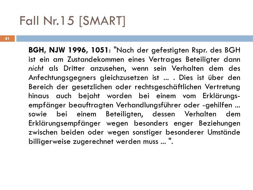 41 Fall Nr.15 [SMART] BGH, NJW 1996, 1051: