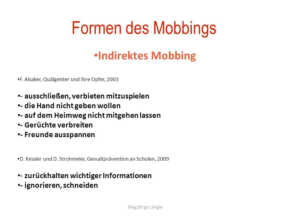 Mag.Birgit Längle Formen des Mobbings Indirektes Mobbing F. Alsaker, Quälgeister und ihre Opfer, 2003 - ausschließen, verbieten mitzuspielen - die Han