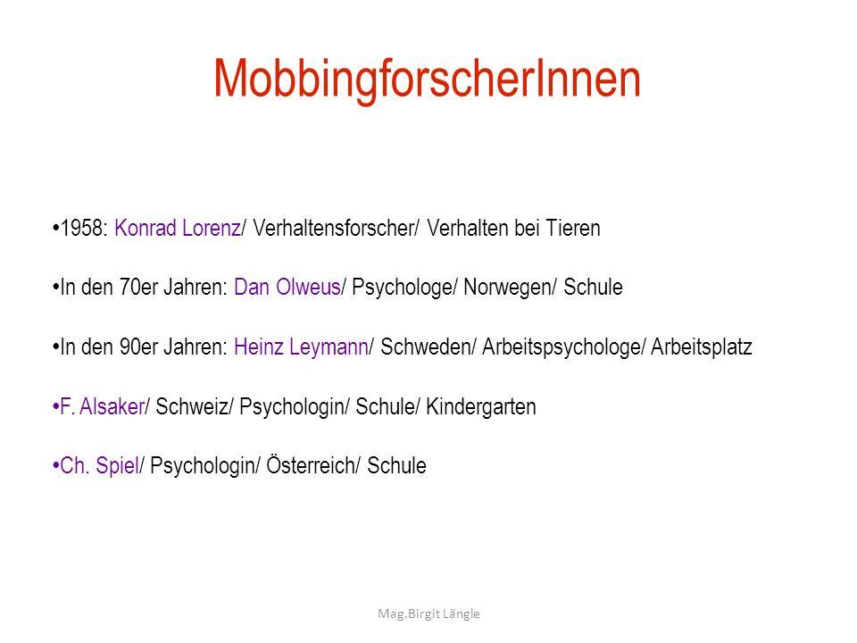 Mag.Birgit Längle MobbingforscherInnen 1958: Konrad Lorenz/ Verhaltensforscher/ Verhalten bei Tieren In den 70er Jahren: Dan Olweus/ Psychologe/ Norwe