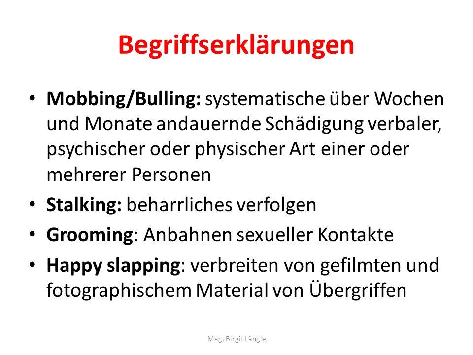 Begriffserklärungen Mobbing/Bulling: systematische über Wochen und Monate andauernde Schädigung verbaler, psychischer oder physischer Art einer oder m