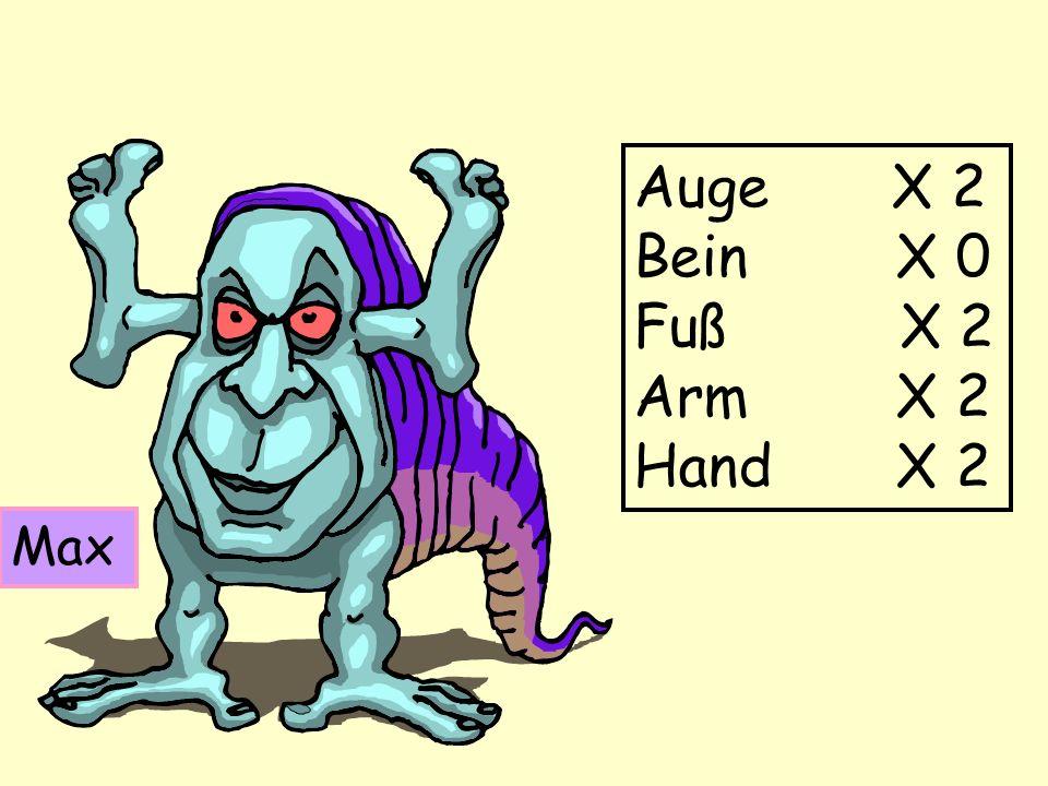 Max Auge X 2 Bein X 0 Fuß X 2 Arm X 2 Hand X 2