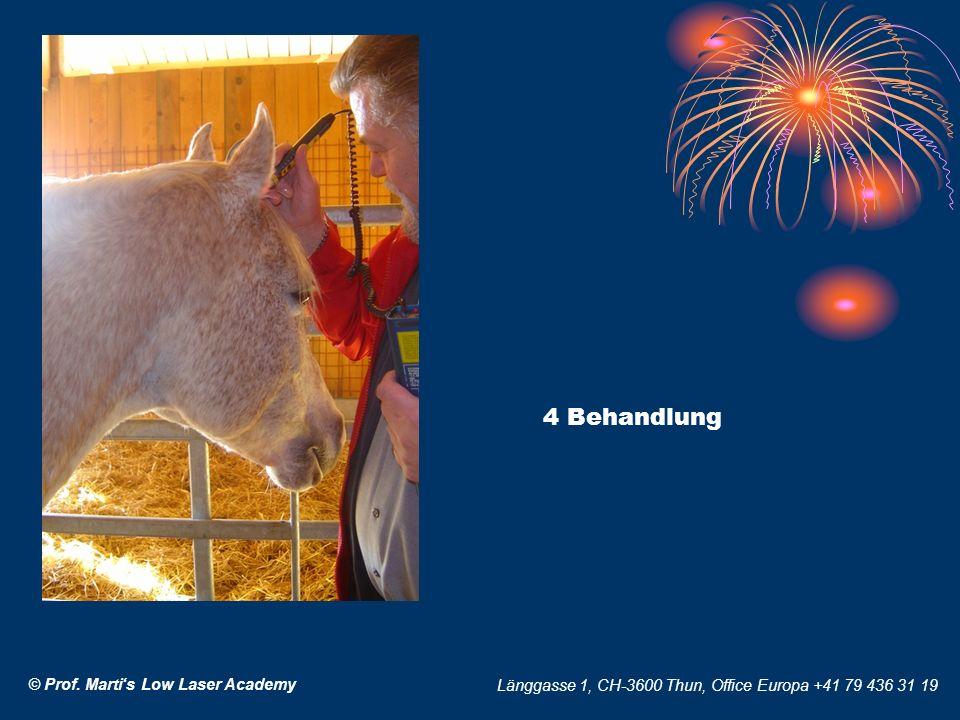 © Prof. Martis Low Laser Academy Länggasse 1, CH-3600 Thun, Office Europa +41 79 436 31 19 4 Behandlung