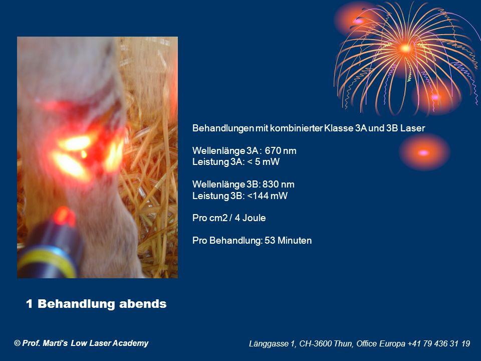 © Prof. Martis Low Laser Academy Länggasse 1, CH-3600 Thun, Office Europa +41 79 436 31 19 Behandlungen mit kombinierter Klasse 3A und 3B Laser Wellen