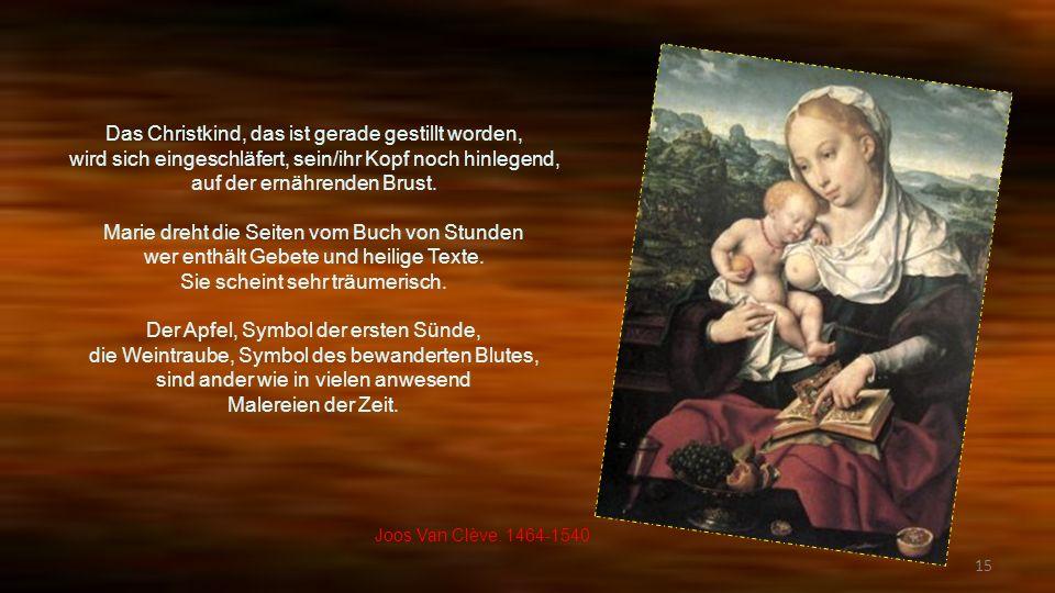 14 Herrliches Bühne vom Leben der Heiligen Familie.. Marie hat seine/ihre Nahtarbeiten gelassen darunter legt der Korb auf die Erde hin. Jesus zieht a