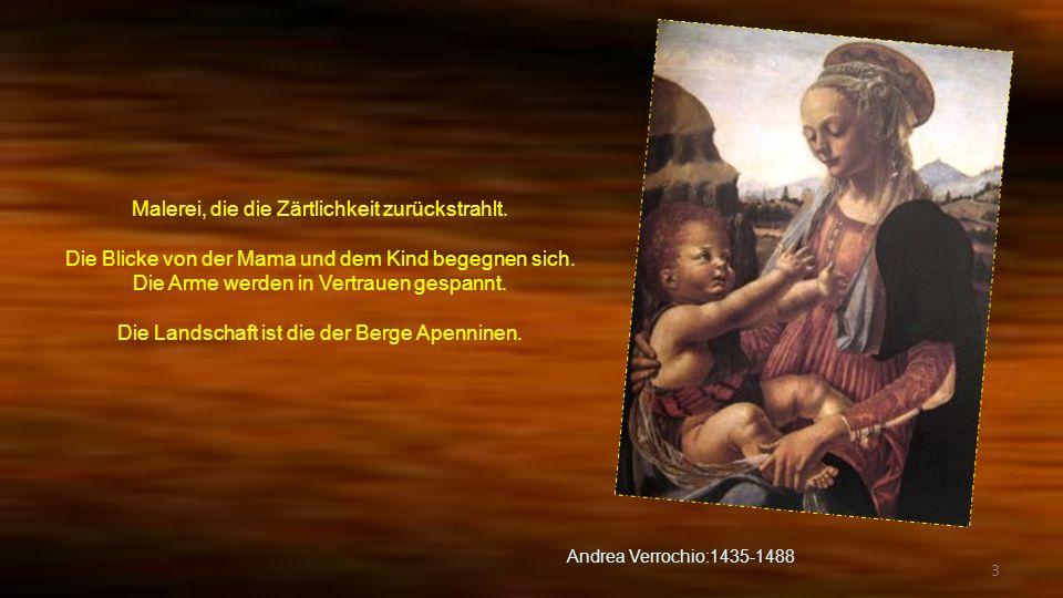 2 Diese Malerei will erdenken eine Etappe der Flucht in Ägypten. Die Heilige Familie ruht sich bei einem Baum aus. Joseph liest davon das Obst zusamme