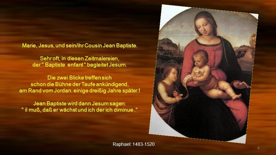 3 Malerei, die die Zärtlichkeit zurückstrahlt. Die Blicke von der Mama und dem Kind begegnen sich. Die Arme werden in Vertrauen gespannt. Die Landscha