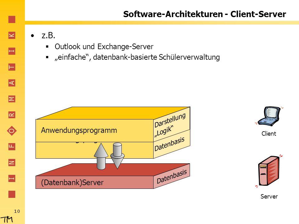 I N F O R M A T I K 10 (Datenbank)Server Datenbasis Darstellung Anwendungsprogramm Logik Datenbasis Software-Architekturen - Client-Server z.B. Outloo