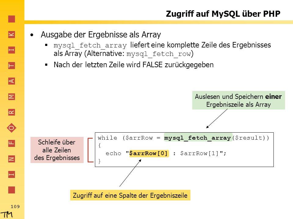 I N F O R M A T I K 109 Zugriff auf eine Spalte der Ergebniszeile Auslesen und Speichern einer Ergebniszeile als Array Zugriff auf MySQL über PHP Ausg