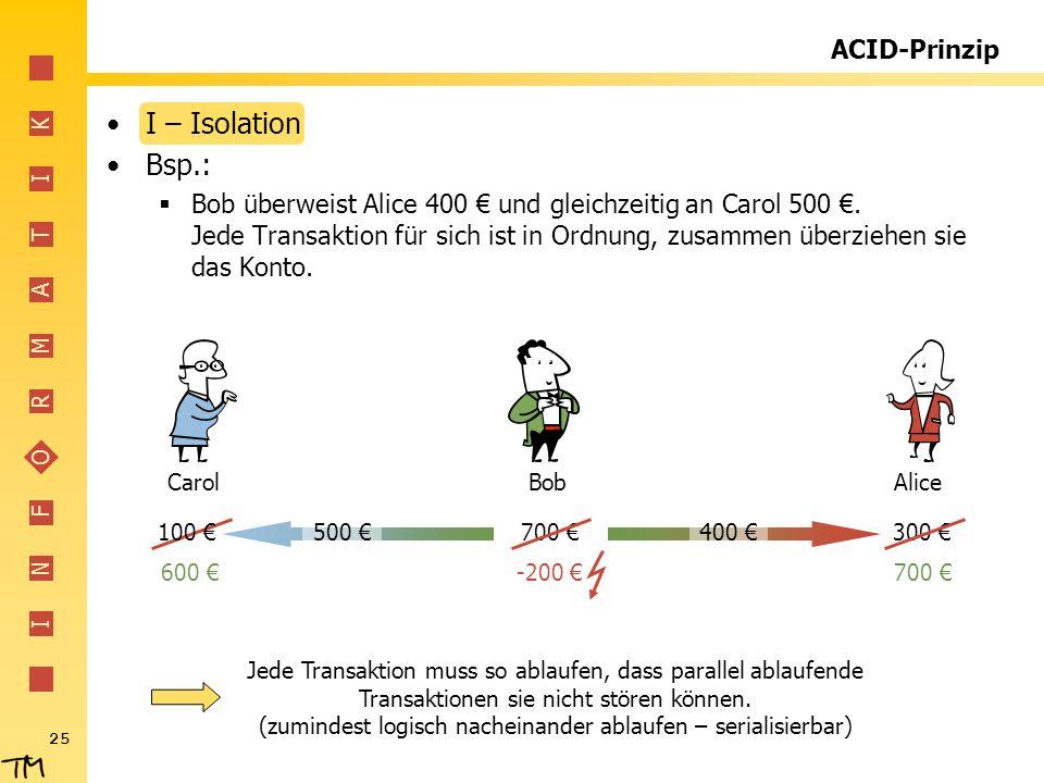I N F O R M A T I K 25 400 ACID-Prinzip I – Isolation Bsp.: Bob überweist Alice 400 und gleichzeitig an Carol 500. Jede Transaktion für sich ist in Or