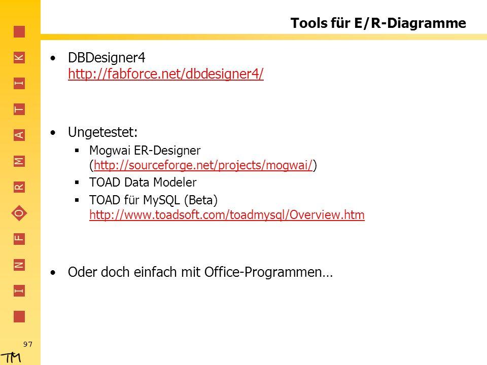 I N F O R M A T I K 97 Tools für E/R-Diagramme DBDesigner4 http://fabforce.net/dbdesigner4/ http://fabforce.net/dbdesigner4/ Ungetestet: Mogwai ER-Des
