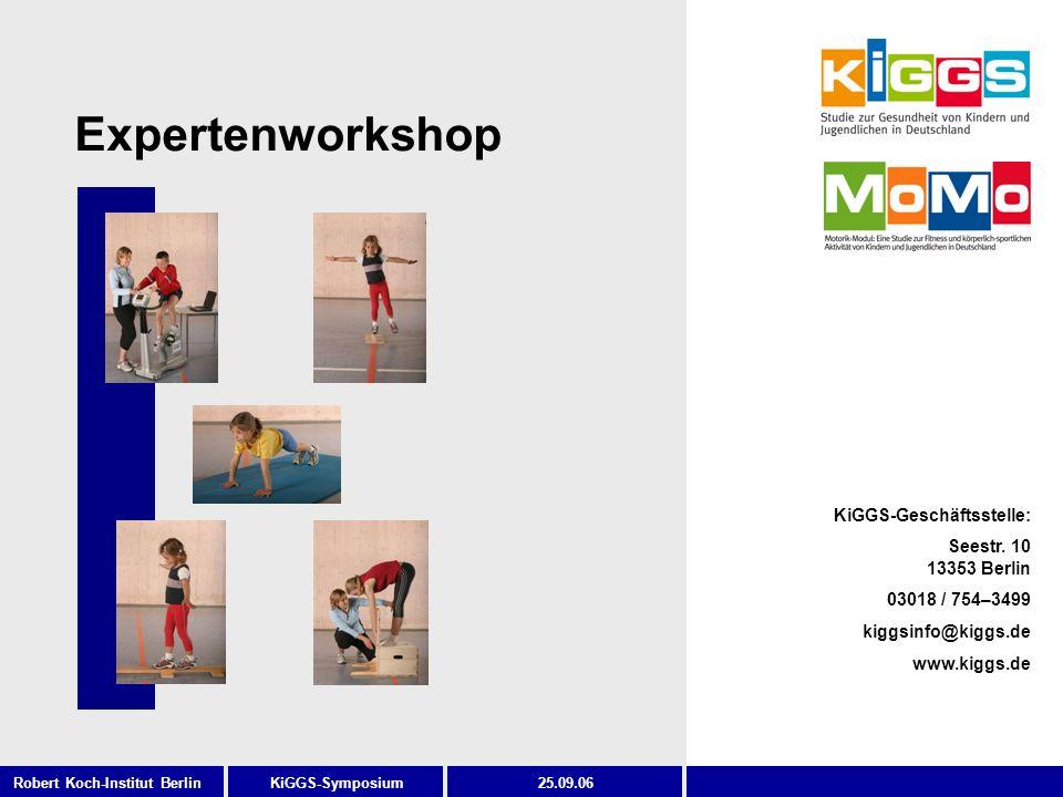 2 KiGGS-SymposiumRobert Koch-Institut Berlin25.09.06 Ablauf des Workshops Prof.