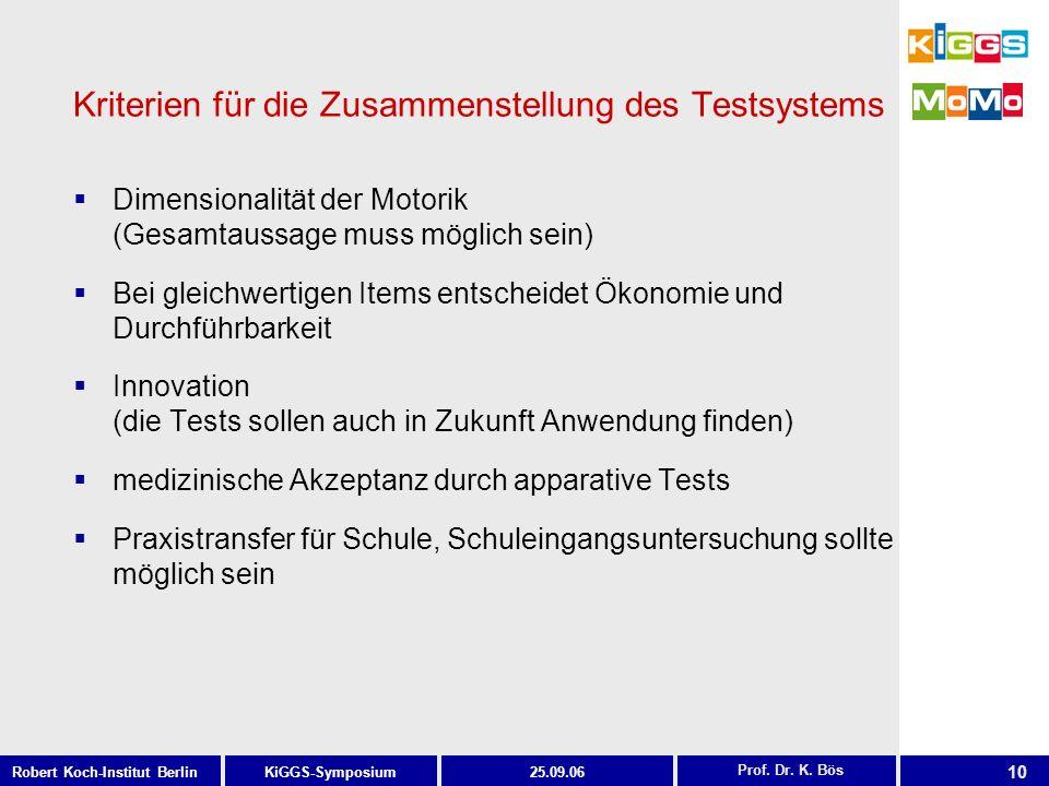 10 KiGGS-SymposiumRobert Koch-Institut Berlin25.09.06 Kriterien für die Zusammenstellung des Testsystems Dimensionalität der Motorik (Gesamtaussage mu