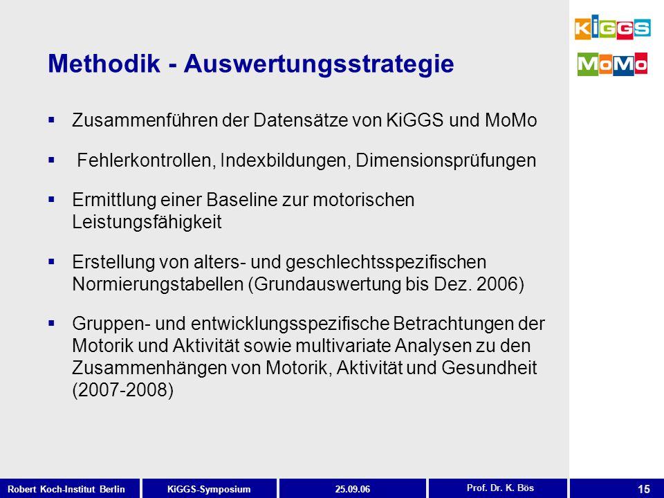 15 KiGGS-SymposiumRobert Koch-Institut Berlin25.09.06 Methodik - Auswertungsstrategie Zusammenführen der Datensätze von KiGGS und MoMo Fehlerkontrolle