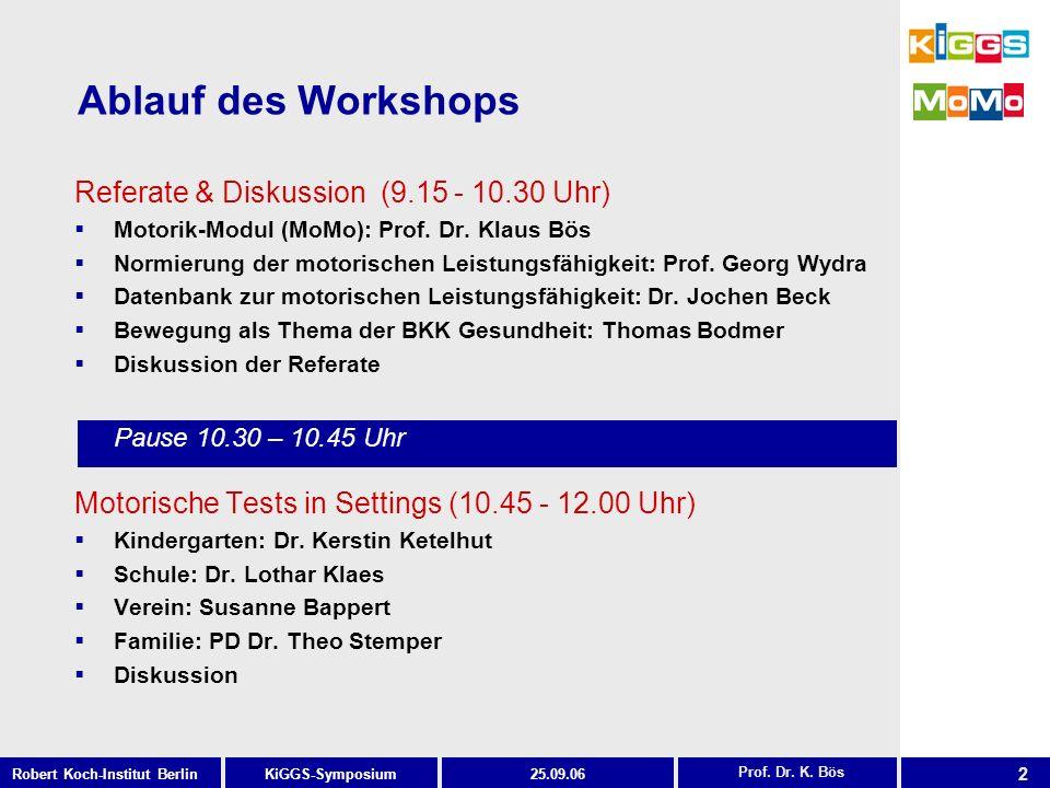 13 KiGGS-SymposiumRobert Koch-Institut Berlin25.09.06 MoMo-Testsystem differenziert nach Fähigkeiten und beanspruchter Muskulatur Prof.