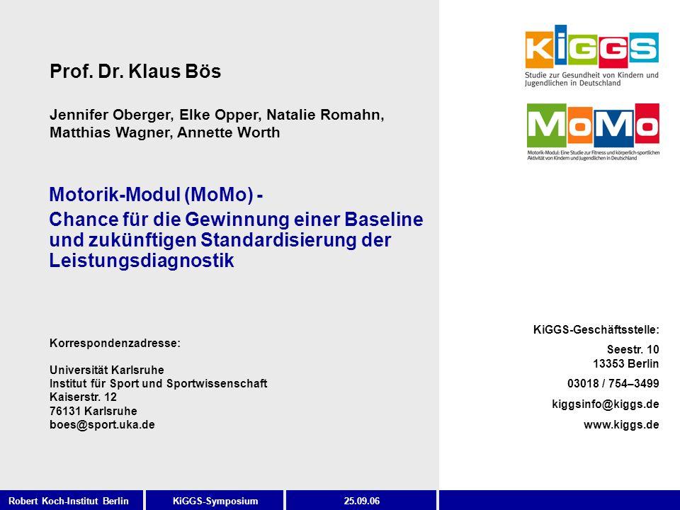 KiGGS-Symposium KiGGS-Geschäftsstelle: Seestr. 10 13353 Berlin 03018 / 754–3499 kiggsinfo@kiggs.de www.kiggs.de Robert Koch-Institut Berlin25.09.06 Mo