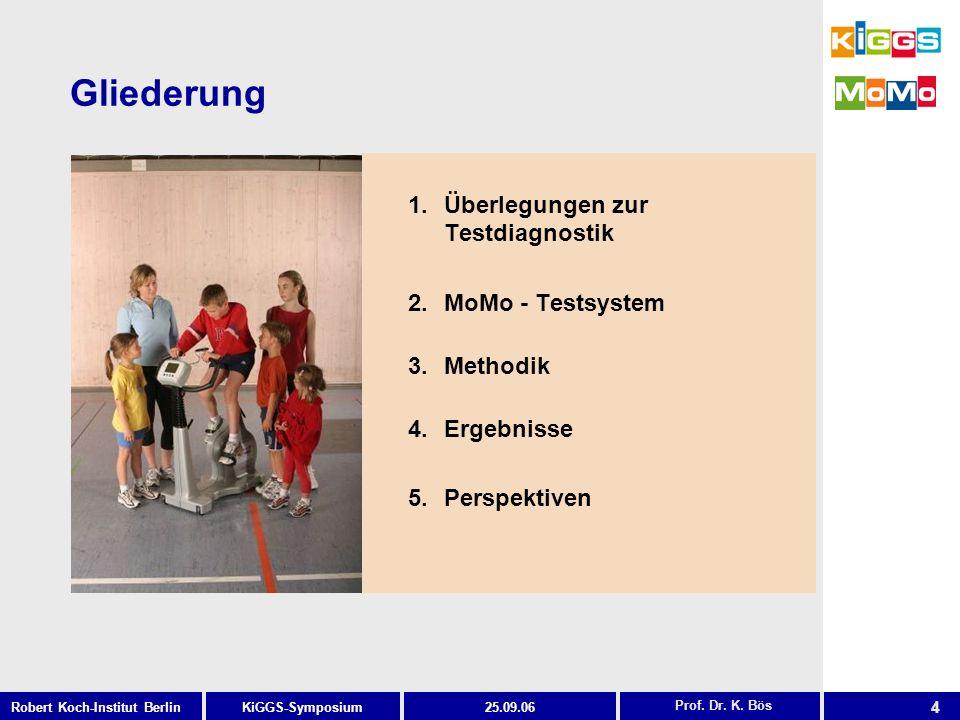 4 KiGGS-SymposiumRobert Koch-Institut Berlin25.09.06 1.Überlegungen zur Testdiagnostik 2.MoMo - Testsystem 3.Methodik 4.Ergebnisse 5.Perspektiven Prof