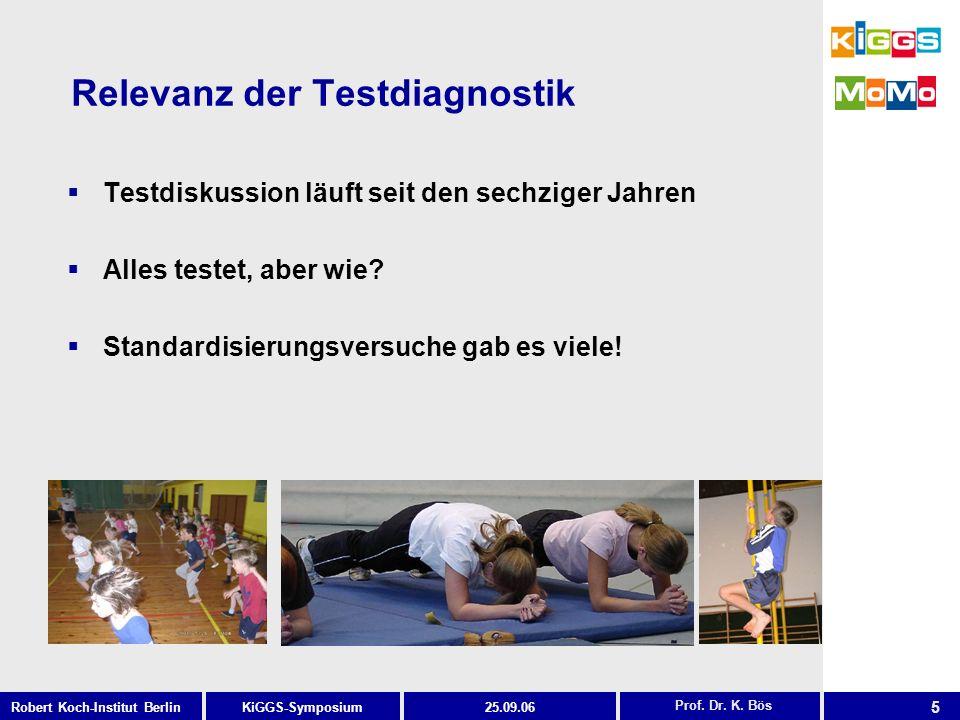 5 KiGGS-SymposiumRobert Koch-Institut Berlin25.09.06 Relevanz der Testdiagnostik Testdiskussion läuft seit den sechziger Jahren Alles testet, aber wie