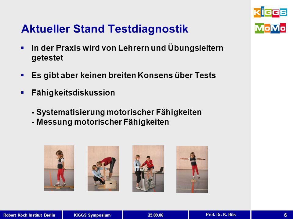 6 KiGGS-SymposiumRobert Koch-Institut Berlin25.09.06 Aktueller Stand Testdiagnostik Prof. Dr. K. Bös In der Praxis wird von Lehrern und Übungsleitern