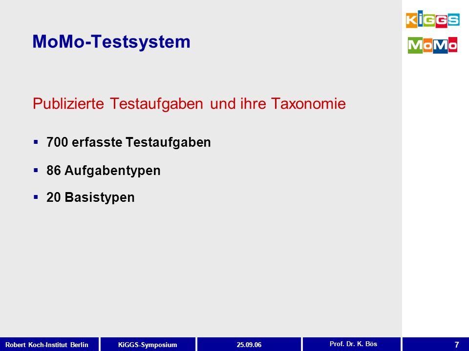 7 KiGGS-SymposiumRobert Koch-Institut Berlin25.09.06 MoMo-Testsystem Prof. Dr. K. Bös Publizierte Testaufgaben und ihre Taxonomie 700 erfasste Testauf