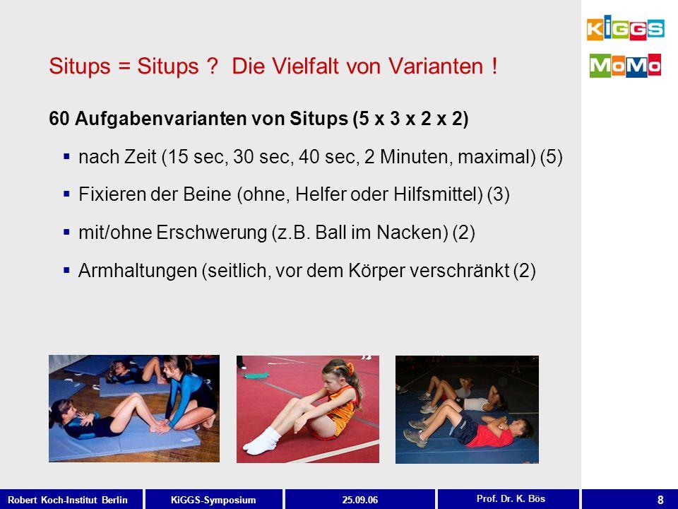 8 KiGGS-SymposiumRobert Koch-Institut Berlin25.09.06 Prof. Dr. K. Bös Situps = Situps ? Die Vielfalt von Varianten ! 60 Aufgabenvarianten von Situps (