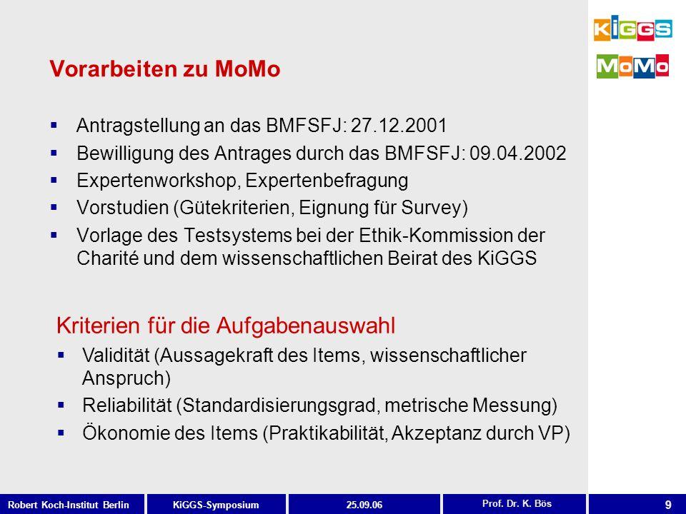 9 KiGGS-SymposiumRobert Koch-Institut Berlin25.09.06 Vorarbeiten zu MoMo Antragstellung an das BMFSFJ: 27.12.2001 Bewilligung des Antrages durch das B