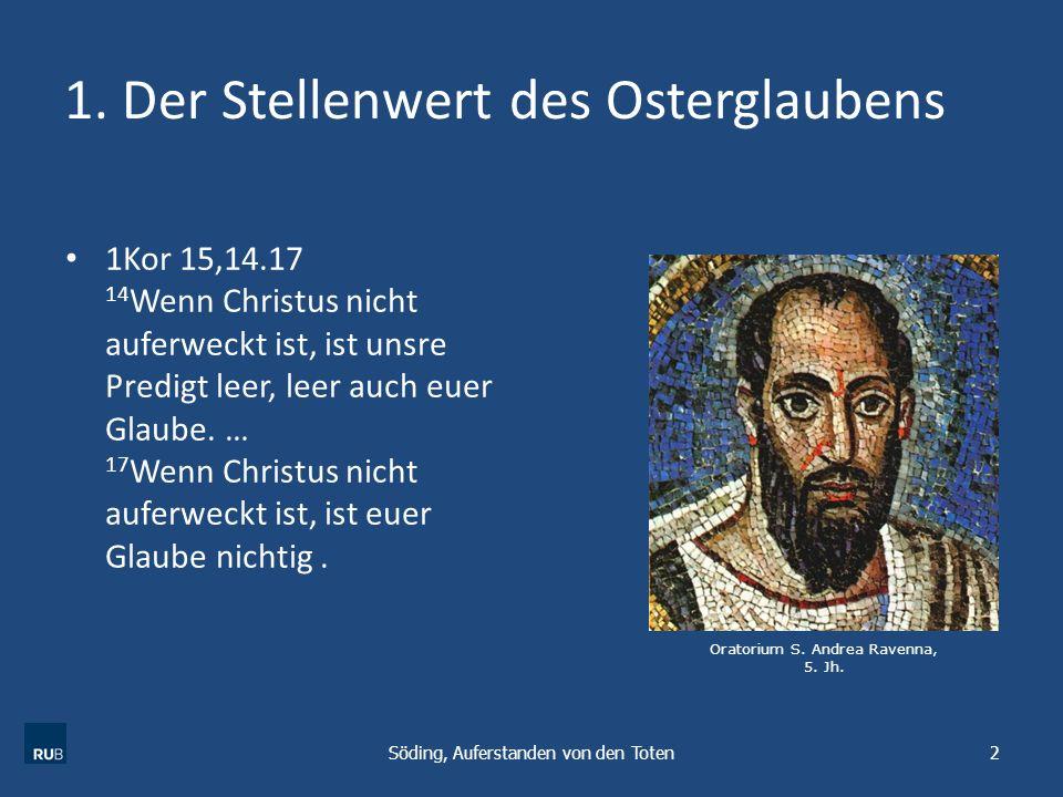 1. Der Stellenwert des Osterglaubens 1Kor 15,14.17 14 Wenn Christus nicht auferweckt ist, ist unsre Predigt leer, leer auch euer Glaube. … 17 Wenn Chr