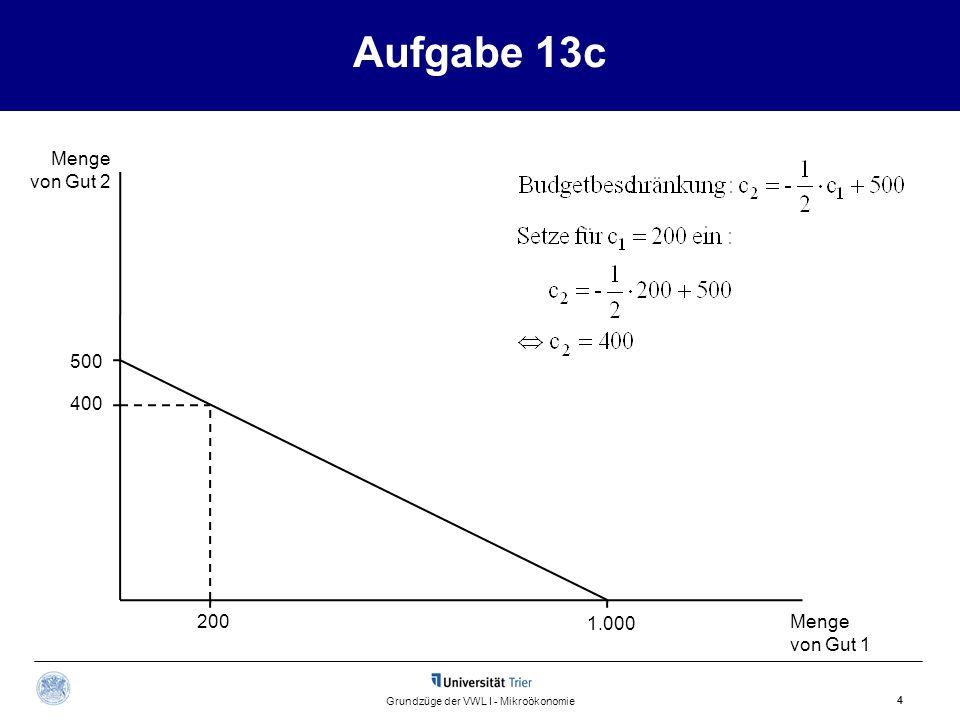 Aufgabe 13 d.1 Menge von Gut 2 Menge von Gut 1 5 Grundzüge der VWL I - Mikroökonomie 500 1.000375 233,3 200
