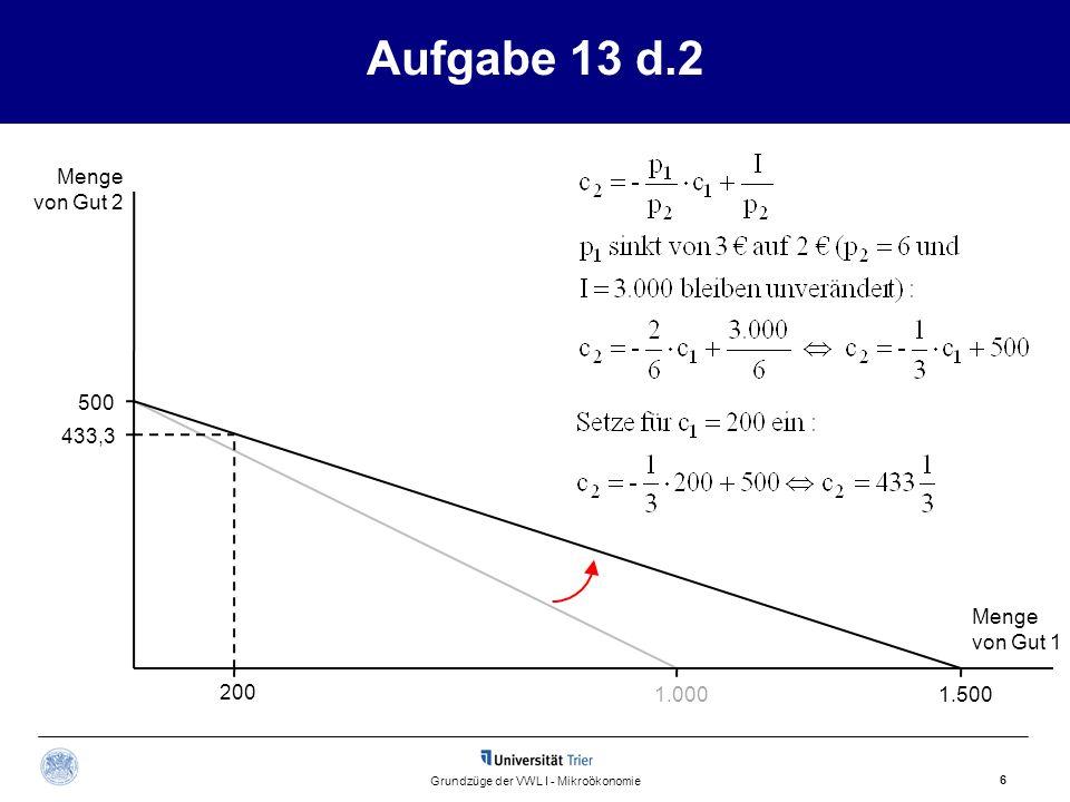 Aufgabe 13 d.2 Menge von Gut 2 Menge von Gut 1 6 Grundzüge der VWL I - Mikroökonomie 1.500 200 500 433,3 1.000
