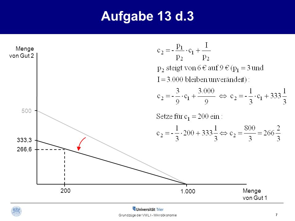 Aufgabe 13 d.3 Menge von Gut 2 Menge von Gut 1 7 Grundzüge der VWL I - Mikroökonomie 500 1.000 200 266,6 333,3
