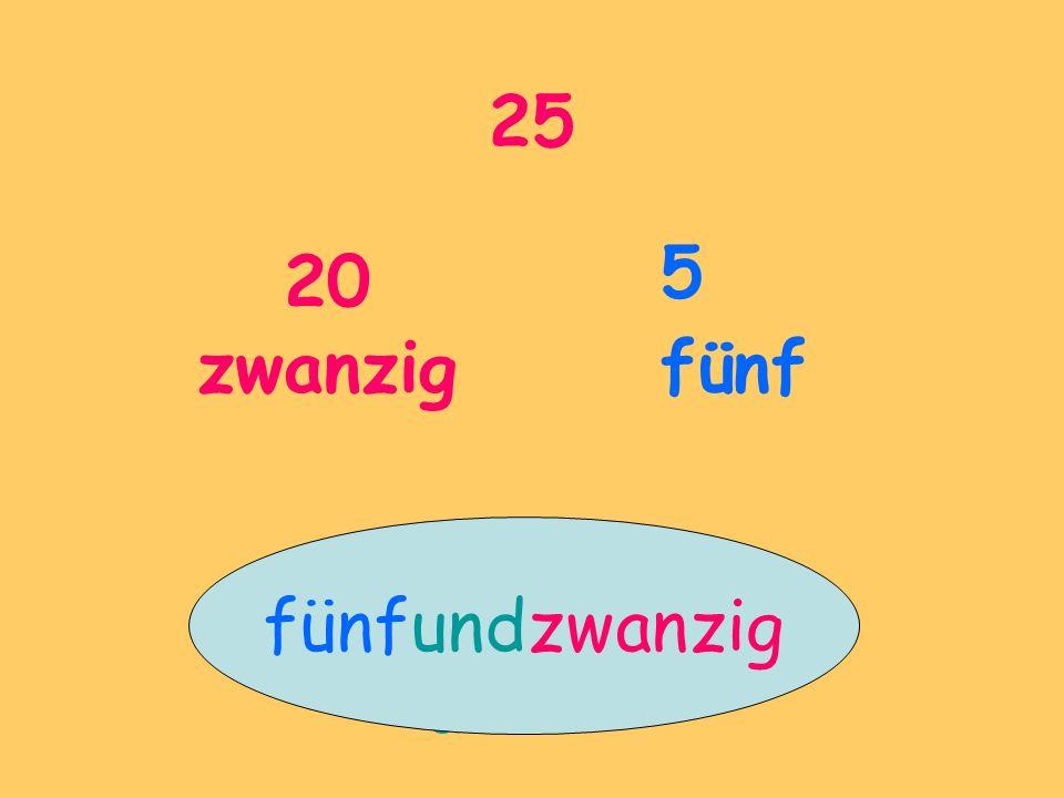 25 20 zwanzig 5 fünf und fünfundzwanzig