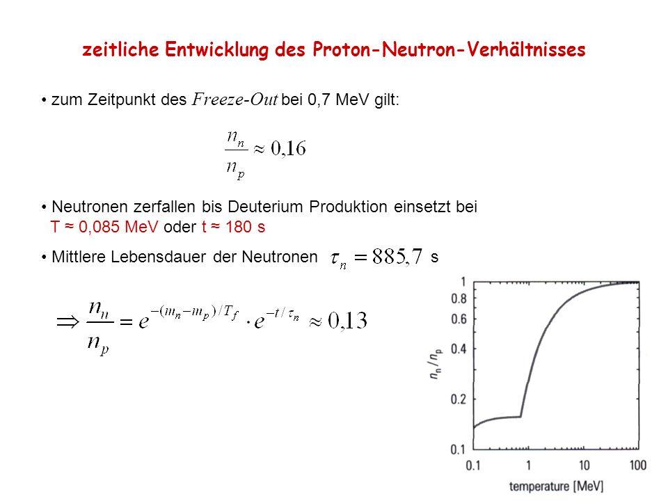 zeitliche Entwicklung des Proton-Neutron-Verhältnisses zum Zeitpunkt des Freeze-Out bei 0,7 MeV gilt: Neutronen zerfallen bis Deuterium Produktion ein