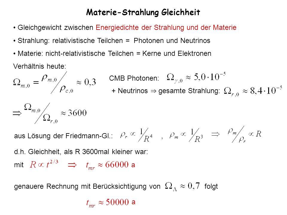 Materie-Strahlung Gleichheit Gleichgewicht zwischen Energiedichte der Strahlung und der Materie Strahlung: relativistische Teilchen = Photonen und Neu