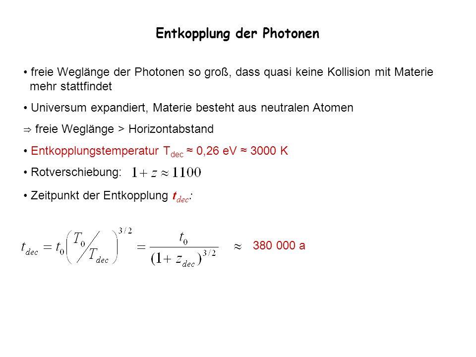 Entkopplung der Photonen freie Weglänge der Photonen so groß, dass quasi keine Kollision mit Materie mehr stattfindet Universum expandiert, Materie be