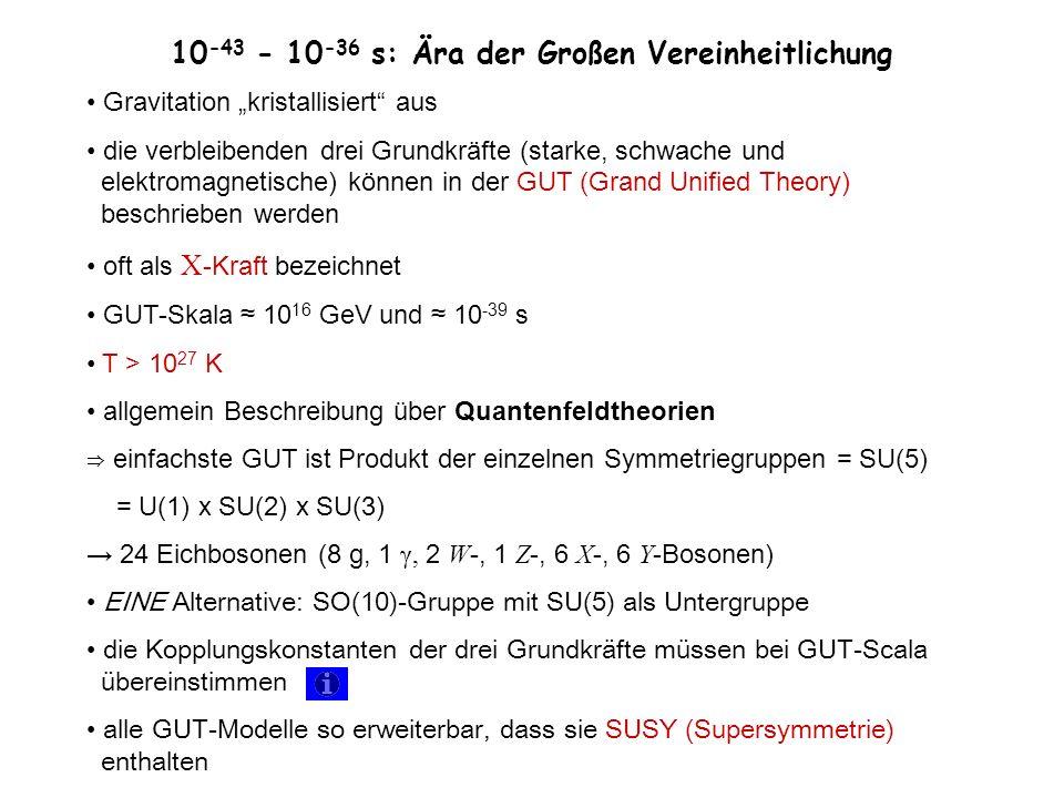 10 -43 - 10 -36 s: Ära der Großen Vereinheitlichung Gravitation kristallisiert aus die verbleibenden drei Grundkräfte (starke, schwache und elektromag