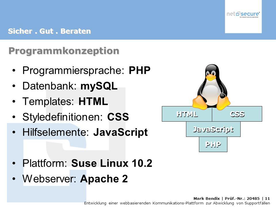 Mark Bendix | Prüf.-Nr.: 20485 | 11 Entwicklung einer webbasierenden Kommunikations-Plattform zur Abwicklung von Supportfällen Programmkonzeption Programmiersprache: PHP Datenbank: mySQL Templates: HTML Styledefinitionen: CSS Hilfselemente: JavaScript Plattform: Suse Linux 10.2 Webserver: Apache 2 PHP JavaScript HTMLCSS