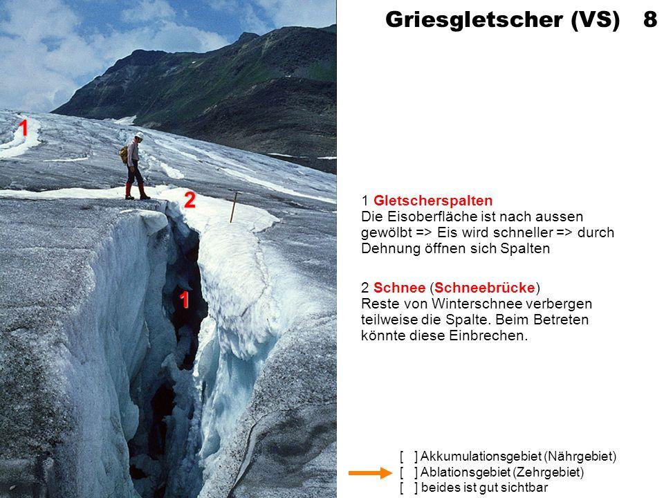 [ ] Akkumulationsgebiet (Nährgebiet) [ ] Ablationsgebiet (Zehrgebiet) [ ] beides ist gut sichtbar Griesgletscher (VS) 8 1 Gletscherspalten Die Eisober